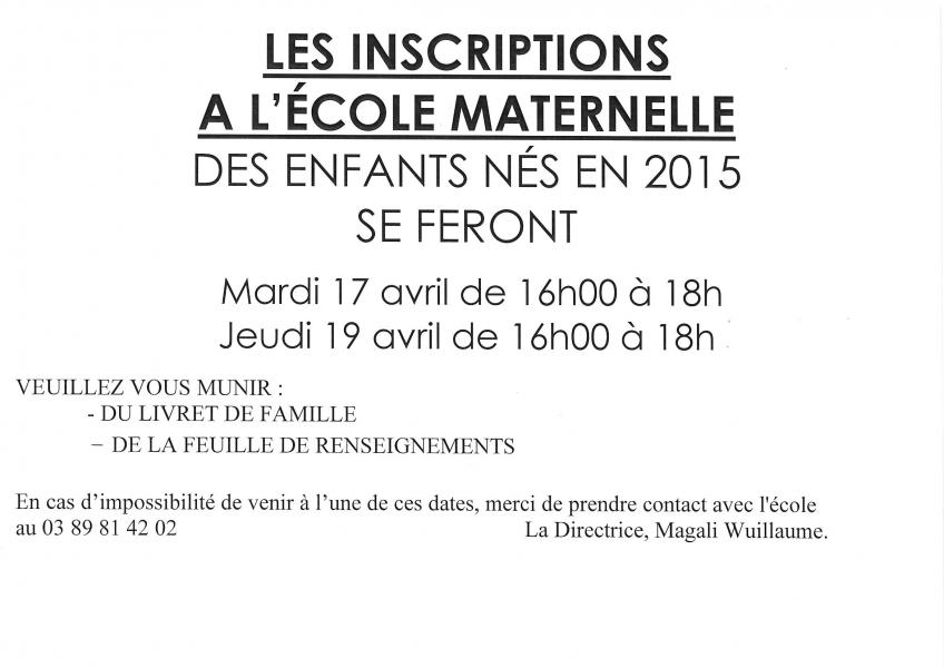 Commune De Schlierbach Inscriptions école Maternelle